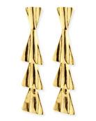 18k Gold-Plated Fan Drop Earrings with Post