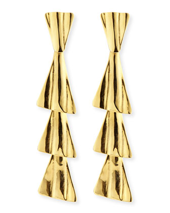 18k Gold-Plated Fan Drop Earrings with Post