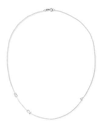 Mini 3-Number Necklace, White Gold