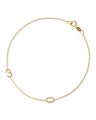 Mini 2-Number Bracelet, Yellow Gold