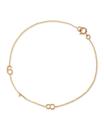 Mini 3-Number Bracelet, Yellow Gold
