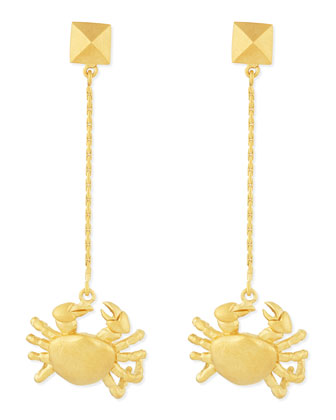 Golden Cancer Zodiac Earrings