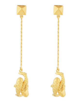 Golden Pisces Zodiac Earrings