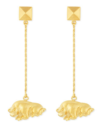 Golden Taurus Zodiac Earrings