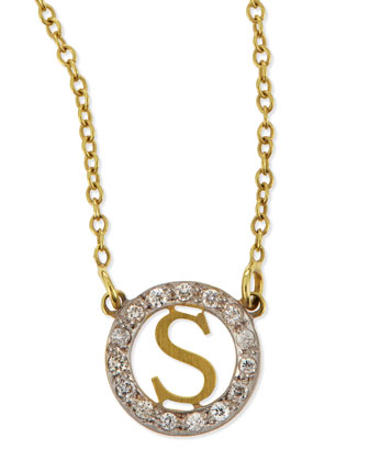 Extra Small Round Initial Pendant Necklace with Diamonds
