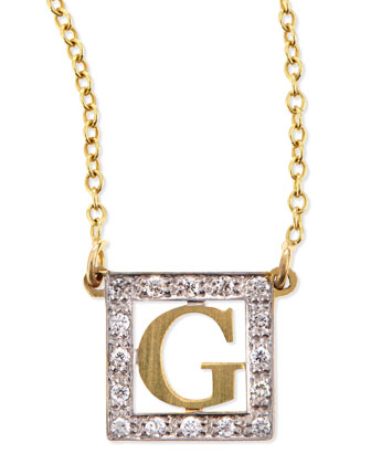 Extra Small Block Initial Pendant Necklace with Diamonds