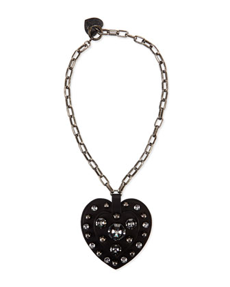 Heart Pendant Necklace, Black