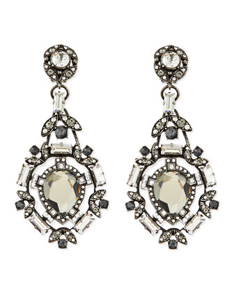 Clear Crystal Clip-On Chandelier Earrings