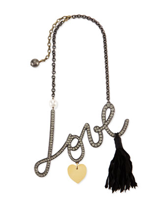Pave Crystal Love Pendant Necklace