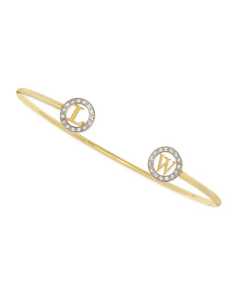 14k Initial-Cap Cuff Bracelet with Diamonds