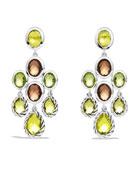 Color Classics Chandelier Earrings with Lemon Citrine, Smoky Quartz, and Peridot