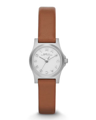 Henry Dinky Analog Watch with Leather Strap, Stainless/Tan