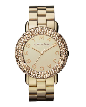 Marci Pave Crystal Golden Watch
