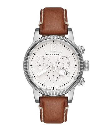 42mm Round Stainless Steel Chronograph Watch with Leather Strap
