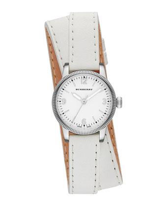 30mm Round Stainless Watch with Double-Wrap White Leather Strap