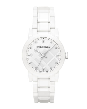 34mm White Round Ceramic Watch with Diamonds