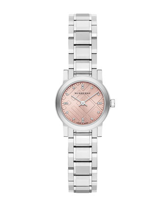 26mm Round Stainless Steel Pink Dial Watch with Diamonds
