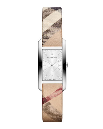 20mm Rectangle Stainless Steel Watch with Check Strap