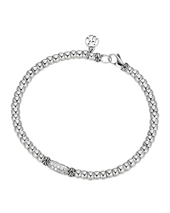 Bedeg Sterling Silver Beaded Bracelet with Diamonds