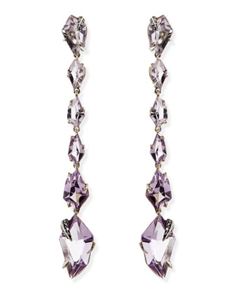 Cool Heather Marquise Amethyst & Diamond Linear Kite Drop Earrings