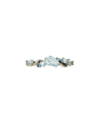 Cool Heather Marquise Topaz & Sapphire Cluster Band Ring