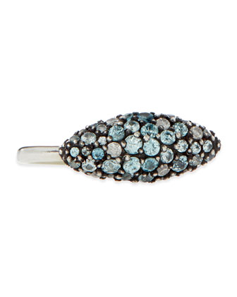 Sterling Silver Pave Blue Zircon & Diamond Marquise Ring