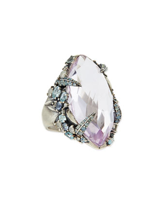 Cool Heather Marquis Amethyst Ring with Claw Diamonds & Sapphires