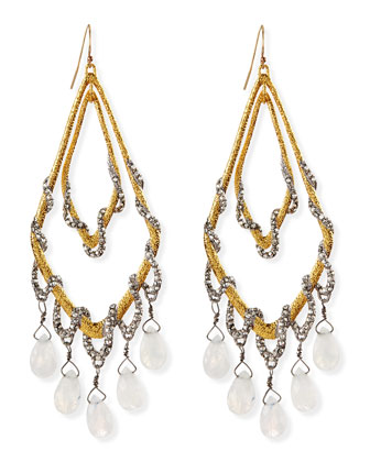 Golden Maldivian Orbiting Teardrop Earrings