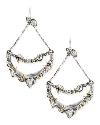 Jardin Mystere Suspended Crescent Earrings with Jagged Crystals