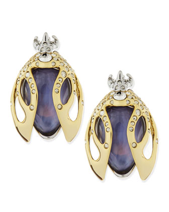 Jardin Mystere Purple Crystal Beetle Clip-On Earrings