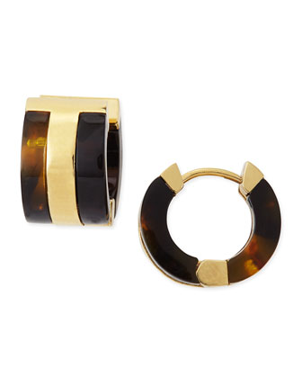 Wyatt Tortoise Enamel Huggie Earrings
