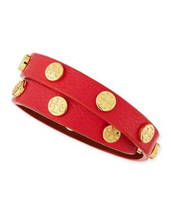 Logo-Studded Double Wrap Leather Bracelet, Carnival Red