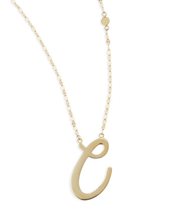 14k Gold Initial Letter Necklace, C