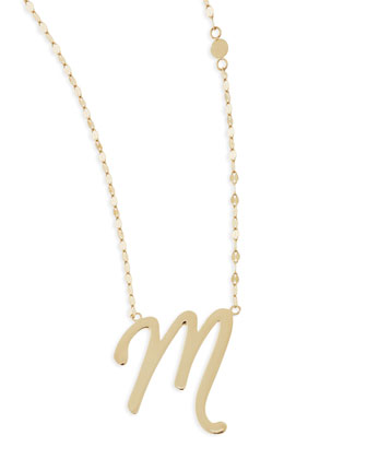 14k Gold Initial Letter Necklace, M