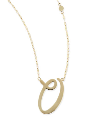 14k Gold Initial Letter Necklace, O