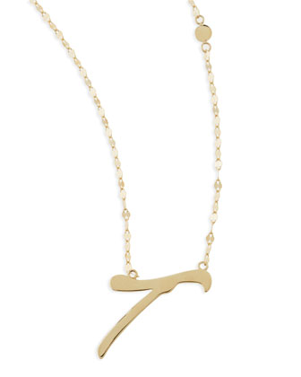 14k Gold Initial Letter Necklace, T