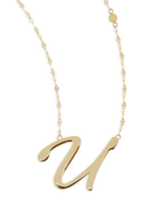 14k Gold Initial Letter Necklace, U