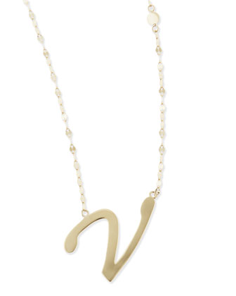 14k Gold Initial Letter Necklace, V