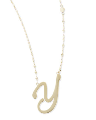 14k Gold Initial Letter Necklace, Y