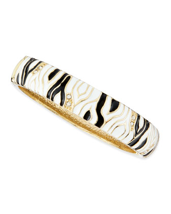 Medium Zebra Enamel Bangle, White