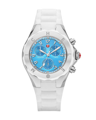 Tahitian Jelly Bean Topaz-Bezel Chronograph Watch, Stainless/White/Blue