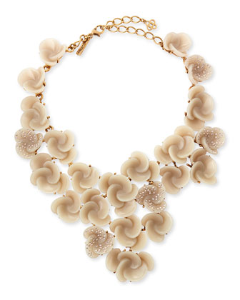 Resin Flower Bib Necklace, Almond