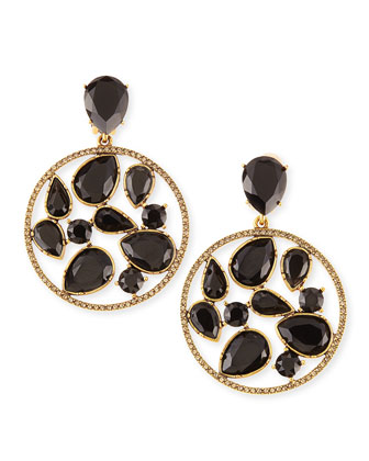 Round Multi-Stone Clip-On Earrings, Black