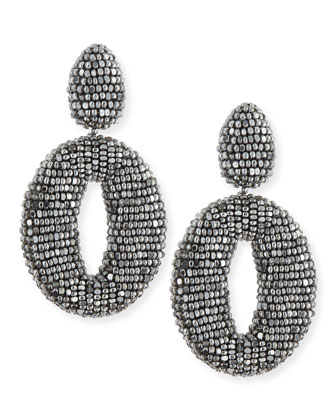 Oscar O Beaded Clip Earrings, Silver