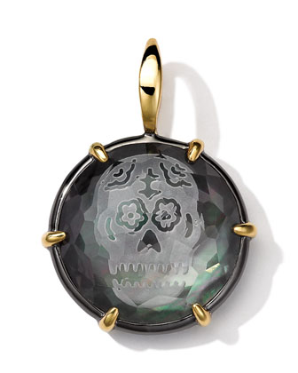 Black Sterling Silver and 18k Gold Intaglio Skull Charm, Black Shell ...