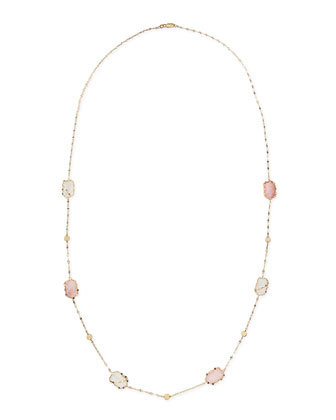 14k Blush Stone Station Necklace, 30