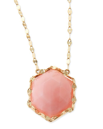 14k Gold Pink Opal Hexagon Necklace