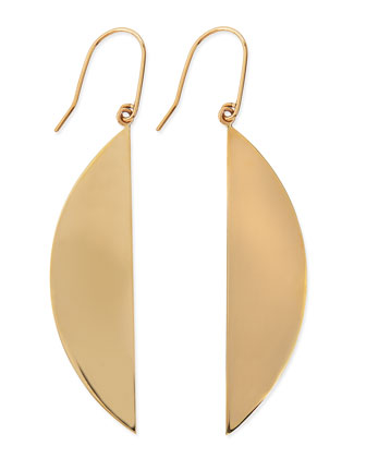 14k Gold Reflector Crescent Earrings