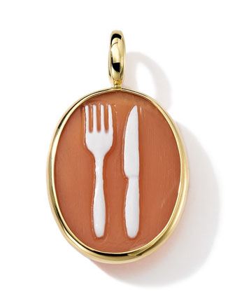 18k Gold Oval Fork & Knife Cameo Charm