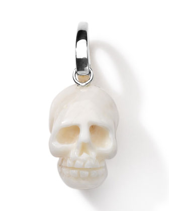 Sterling Silver Skull Charm, White Coral